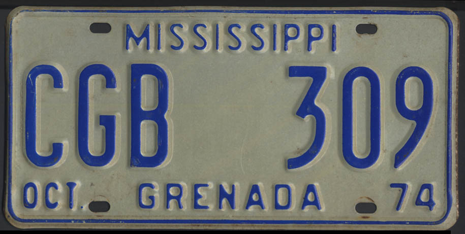 1974 Mississippi Grenada County license plate CGB 309