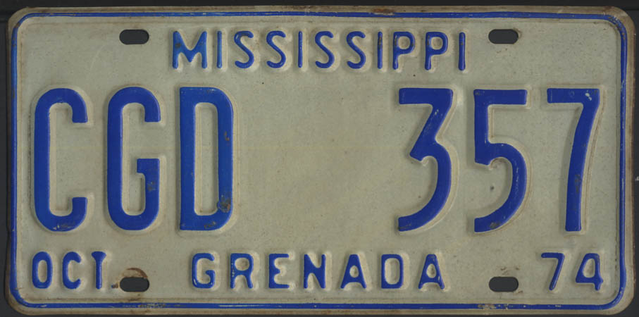 1974 Mississippi Grenada County license plate CGD 357