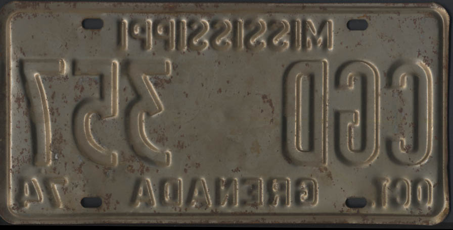 Image for 1974 Mississippi Grenada County license plate CGD 357