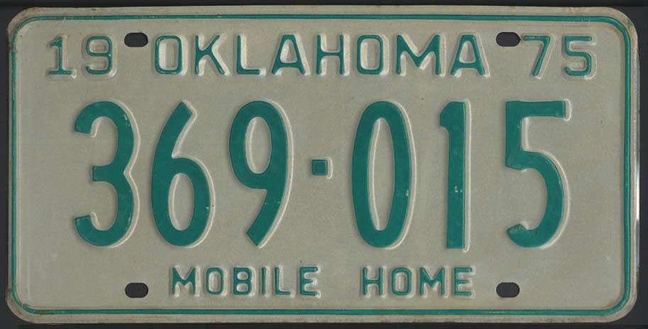 1975 Oklahoma Mobile Home license plate 369-015