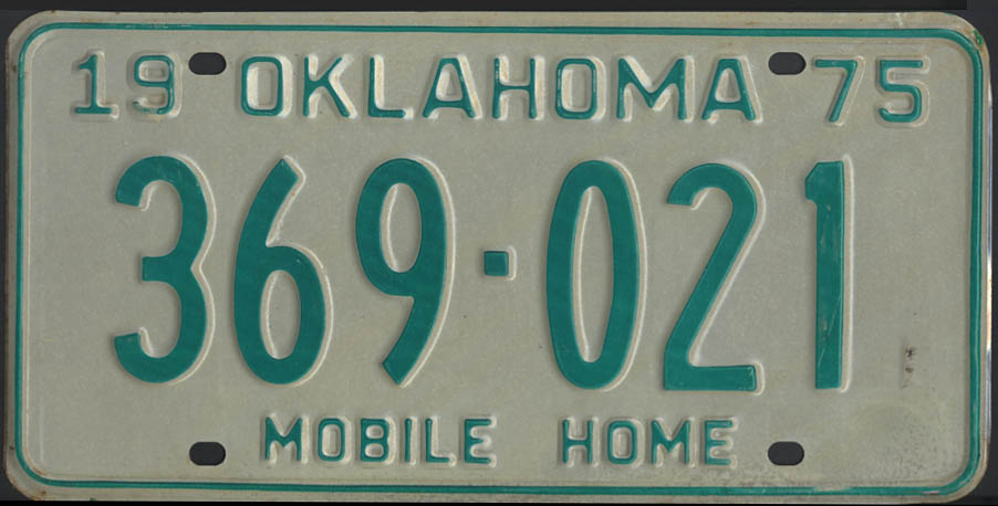 Image for 1975 Oklahoma Mobile Home license plate 369-021