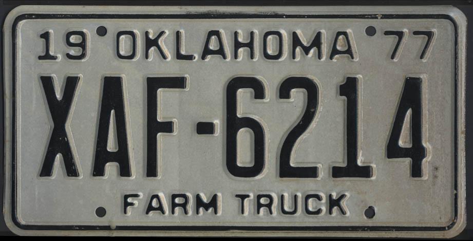 1975 Oklahoma Farm Truck license plate XAF-6214