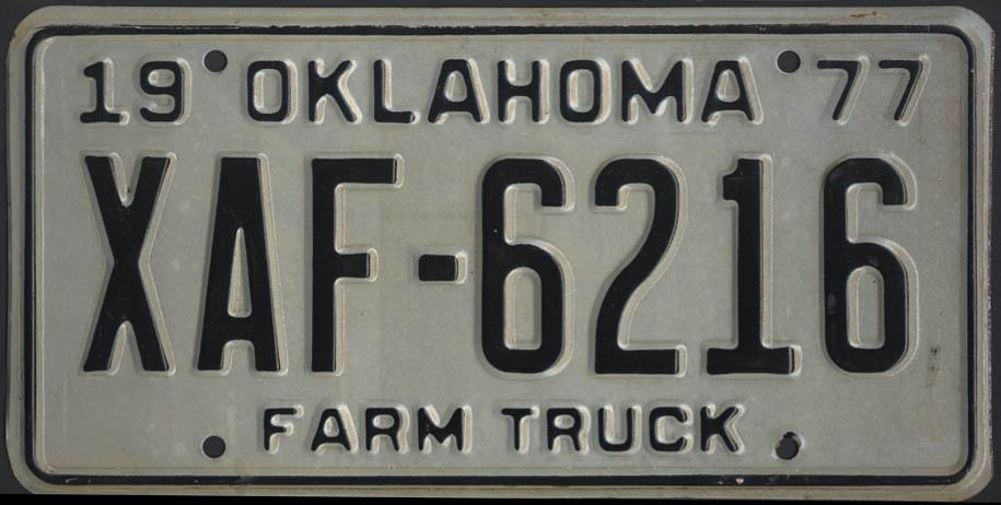 1975 Oklahoma Farm Truck license plate XAF-6216