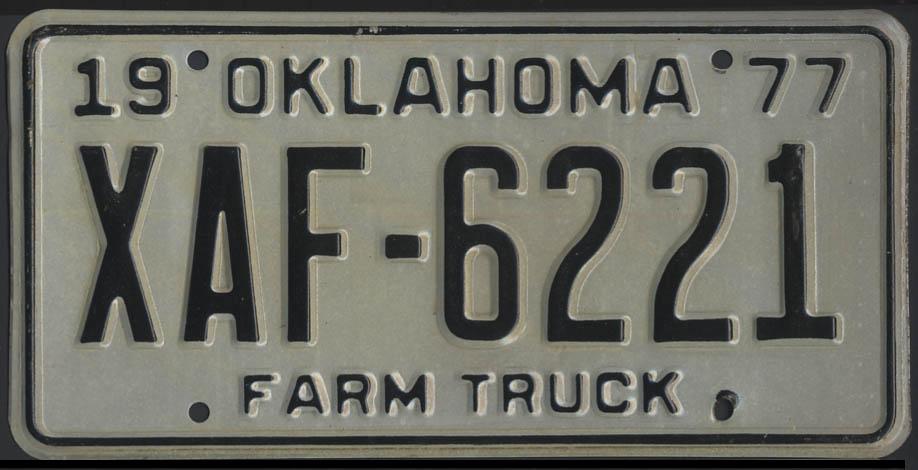 1975 Oklahoma Farm Truck license plate XAF-6221