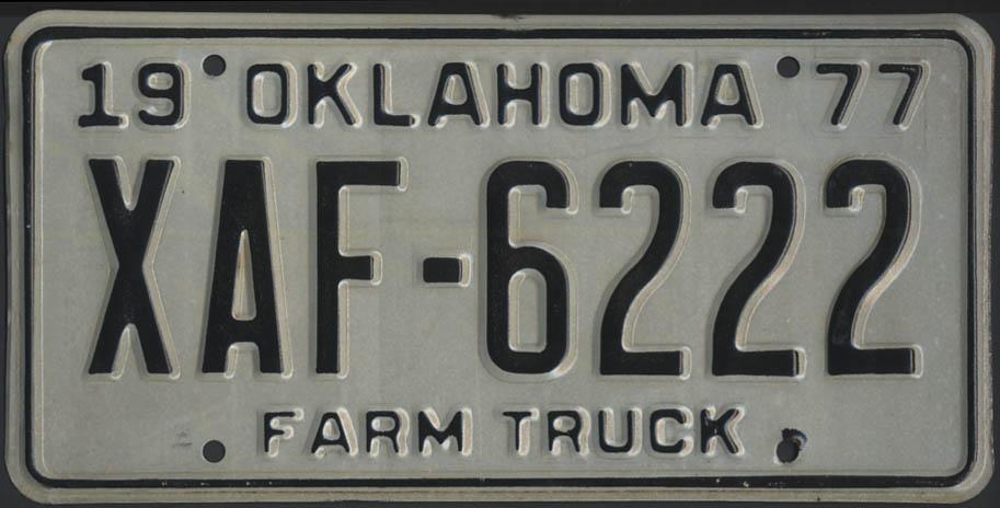 1975 Oklahoma Farm Truck license plate XAF-6222