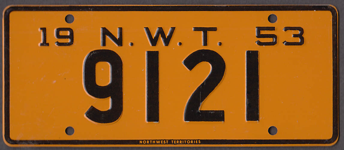 Wheaties metal license plate with FREE ad reprint 1953 North West Territories