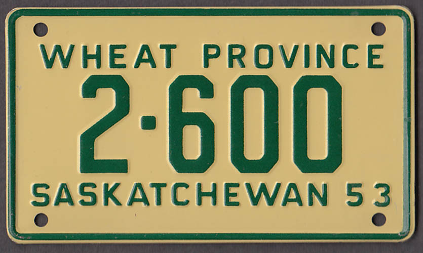 Wheaties metal license plate with FREE ad reprint 1953 Saskatchewan