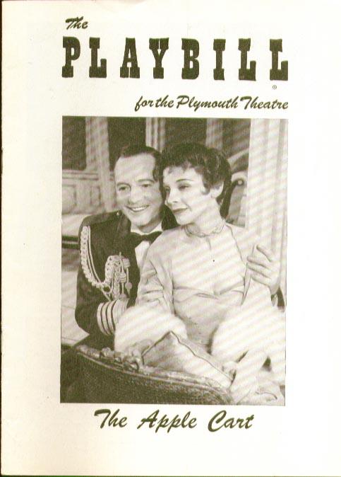 Apple Cart Playbill 1/21/57 Bernard Shaw Maurice Evans