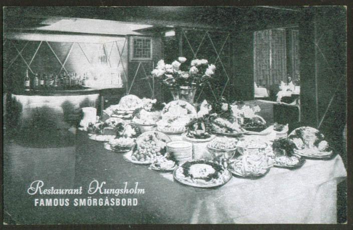 Restaurant Kungsholm Smorgasbord NYC postcard 1940s