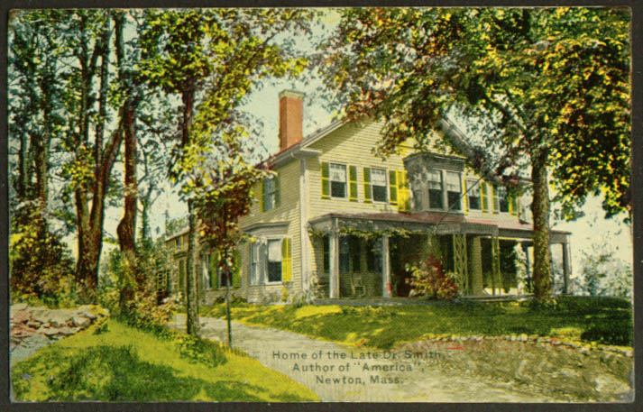 Dr Smith Home Author of America Newton MA postcard 1910s