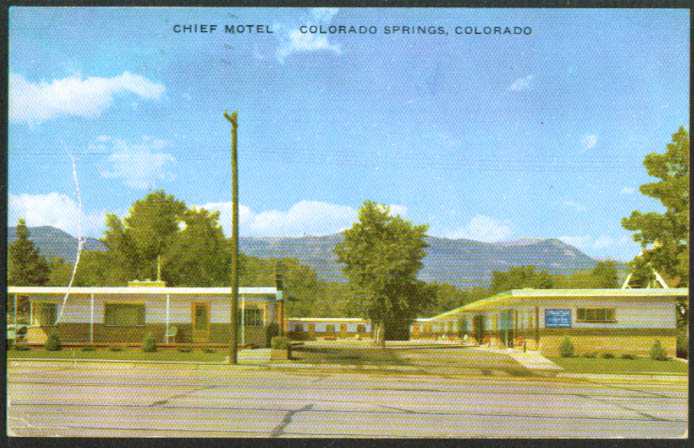 Chief Motel US 85 87 Colorado Springs CO postcard 1952
