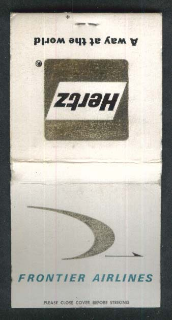 Frontier Airlines Hertz logo airline matchbook