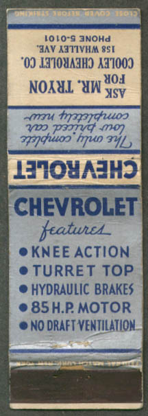 1935 Chevrolet 85hp Cooley New Haven CT matchcover