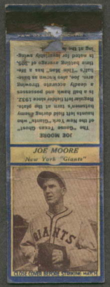 Jo-Jo Moore New York Giants matchcover ca 1936