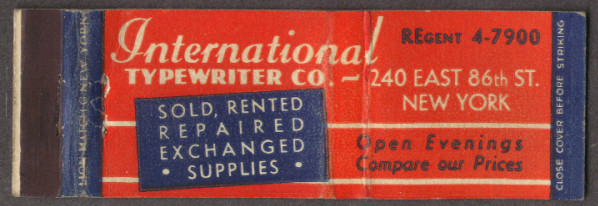 International Typewriter 240 E 86th NYC matchcover