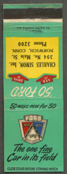 1950 Ford Charles Simon Norwich CT Ph 3200 matchcover