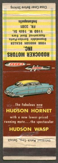 1952 Hudson Hornet Rodocker Indianapolis matchcover