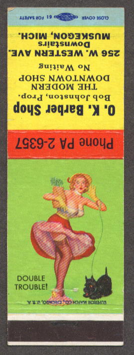 Double Trouble pin-up matchcover OK Barber Shop