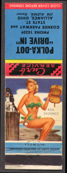 Reel Evidence pin-up matchcover Polka-Dit Drive-In