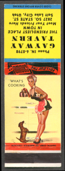 What's Cooking pin-up matchcover Gateway Tavern SLC UT