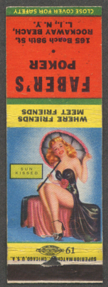 Sun Kissed pin-up matchcover Faber's Poker LI NY