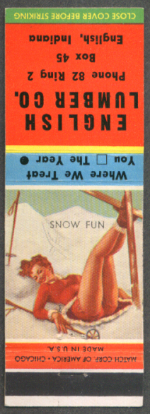 Snow Fun pin-up matchcover Emglish Lumber IN