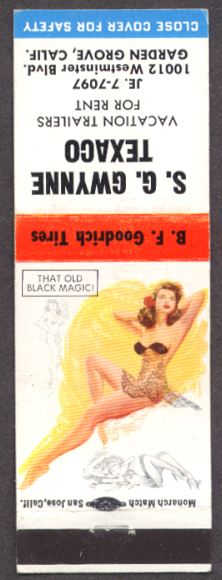 That Old Black Magic pin-up matchcover Gwynne Texaco