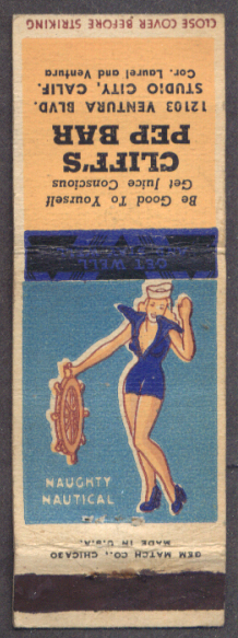 Naughty Nautical pin-up matchcover Cliff's Pep Bar CA