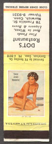 Tan & Terrific pin-up matchcover Dot's Norwich CT