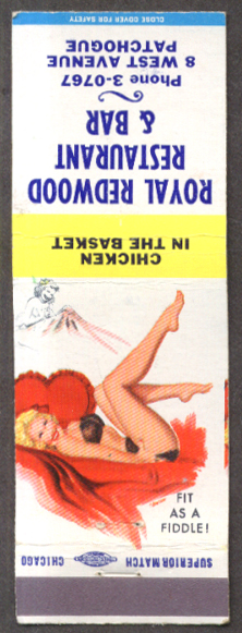 Fit as a Fiddle pin-up matchcover Royal Redwood Bar NY