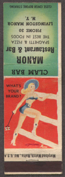 What's Your Brand? Pin-up matchcover Manor Bar NY