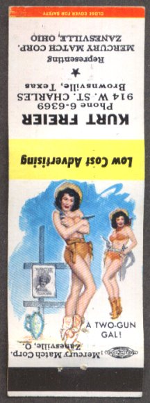 Two-Gun Gal pin-up matchcover Kurt Freier