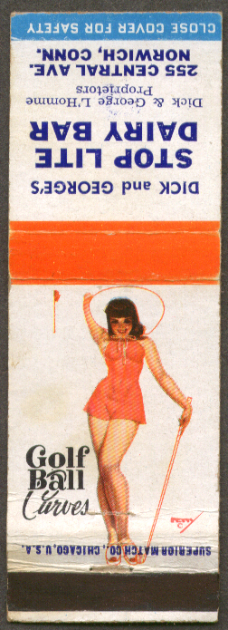 Golf Ball Curves Petty pin-up matchcover Stop Lite Dairy Bar Norwich CT