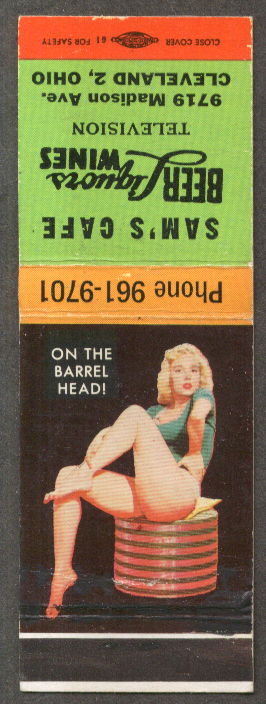 On the Barrel Head pin-up matchcover Sam's Café Cleveland OH