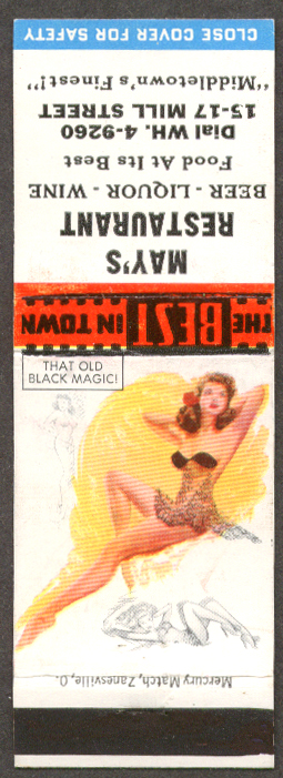 That Old Black Magic pin-up matchcover May's Restaurant Middletown