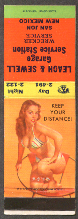 Keep Your Distance pin-up matchcover Leach & Sewell Garage San Jose NM