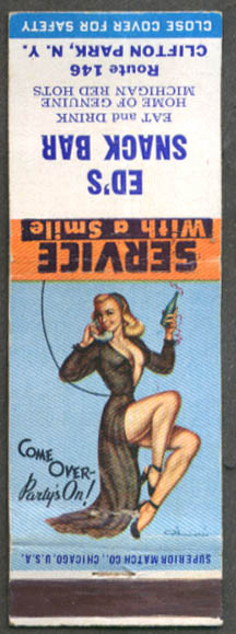 Image for Come Over - Party's On D'Amario Pin-up matchcover Ed's Snack Bar Clifton Park NY