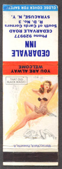 Image for That Old Black Magic pin-up matchcover Cedarvale Inn Syracuse NY