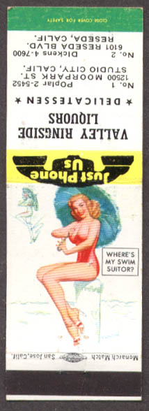 Image for Where's My Swim Suitor? Pin-up matchcover Valley Ringside Liquors Reseda CA
