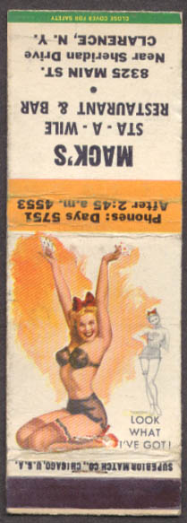 Image for Look What I've Got! Pin-up matchcover Mack's Sta-A-Wile Bar Clarence NY