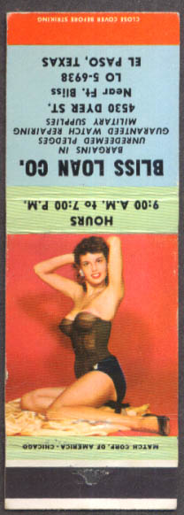 Image for Brunette in black bustier pin-up matchcover Bliss Loan Co El Paso TX