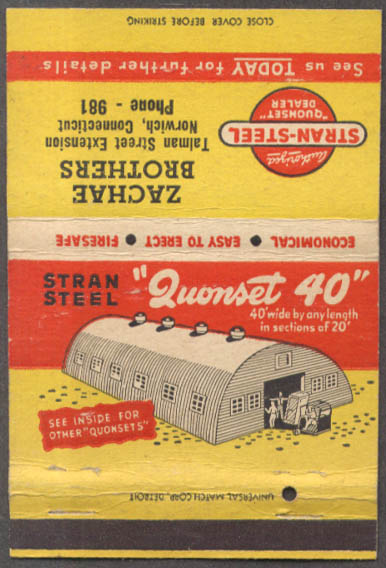 Stran-Steel Quonset Hut 20 24 40 Zachae Brothers Norwich CT matchcover