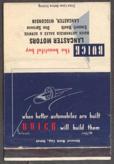 1954 Buick matchcover Lancaster Motors Lancaster WI