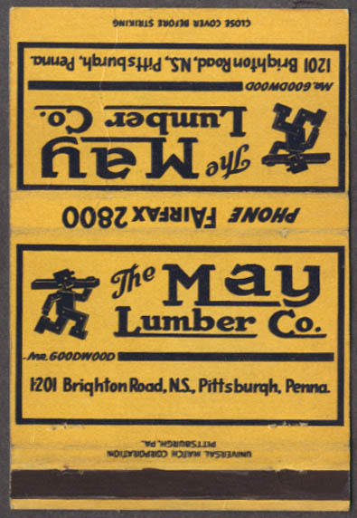 The May Lumber Company 1201 Brighton Rd Pittsburgh PA matchcover