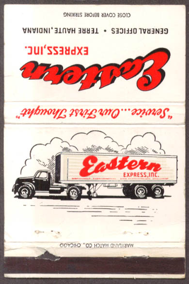 Eastern Express trucking Terre Haute IN matchcover