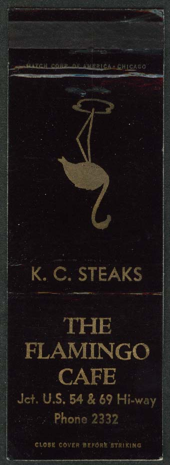 Flamingo Café K C Steaks US 54 & 69 matchcover