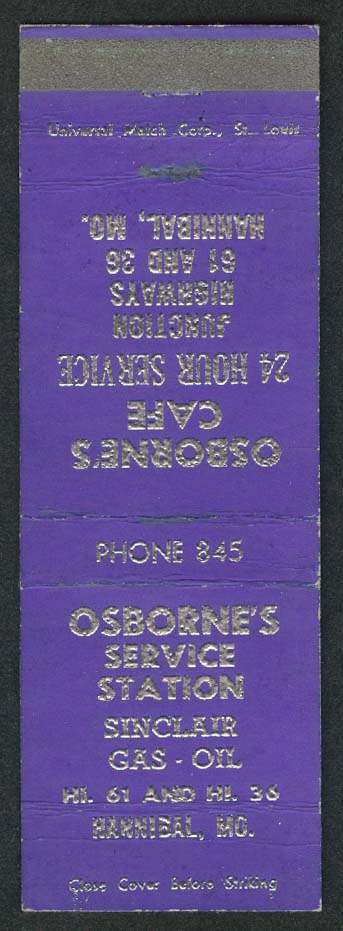 Osborne's Service Station Hannibal MO matchcover