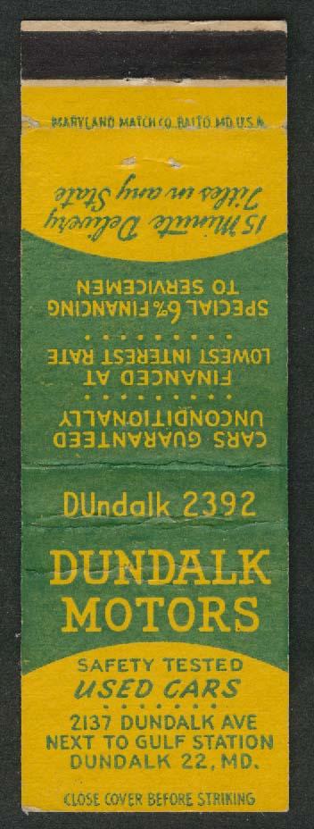 Dundalk Motors Used Cars 2137 Dundalk Ave Dundalk MD matchcover