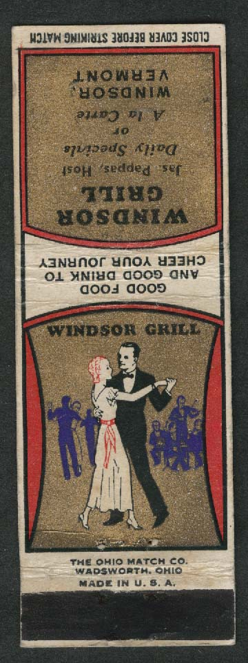Windsor Grill Jas Pappas Good Food & Drink Windsor Vermont matchcover