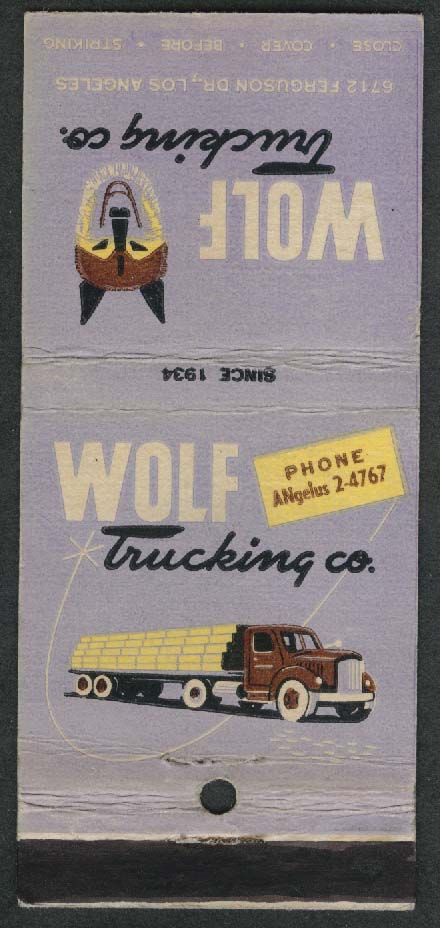 Wolf Trucking Co 6712 Ferguson Dr Los Angeles CA matchcover
